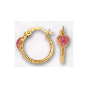 14k Yellow Gold Childrens Hoop Earrings with Enamel Pink