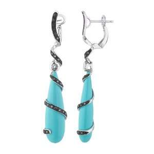 14K White Gold With Turquoise Diamond Earrings Jewelry