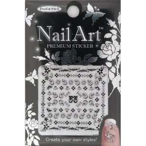 Nail Art Sticker Floral Design NSA 20 Black