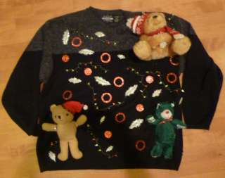 Mens Ugly CHRISTMAS Sweater Contest Size XXL 2XL Moose Snowman Tacky
