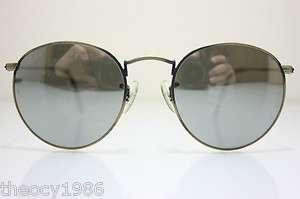 Rayban B&L Round Metal Antique Silver Mirror 49mm W0967 NOS Vintage