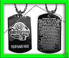FIREFIGHTER PRAYER SILVER PLATED ENGRAVED DOG TAG +NAME