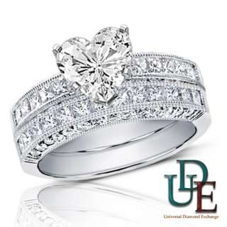 Diamond Bridal Wedding Ring Set 2.00ct total Heart Cut 18K White Gold