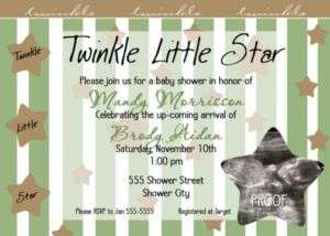 Twinkle Twinkle Little Star Baby Shower Invitations