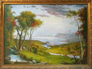 Trees River Landscape Art Oil Painting on Canvas 36x48 signed