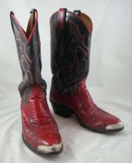 Post Mens Snakeskin Western Red Cowboy Boots Metal Toe Tips 9D