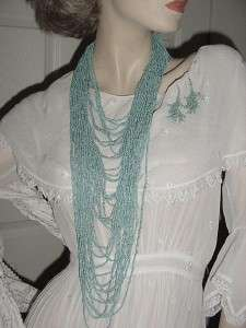 Long Strands Tiny Heishi Turquoise Beads Necklace ERs RUNWAY