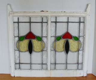 Antique Stained Glass Window 4 color Large Tulip Hearts