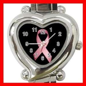 BREAST CANCER PINK RIBBON Heart Italian Charm Watch