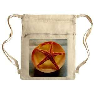 Messenger Bag Sack Pack Khaki Sea Shell and a Starfish