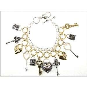 Silver and Gold Tone Charm Bracelet True Fashion NY