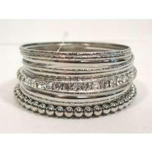 Silver Tone Multi Bangle Bracelet Set Fashion Jewelry with Crystals