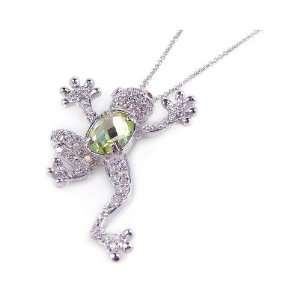 Free Silver Necklaces Green Cz Poison Arrow Frog Necklace Jewelry