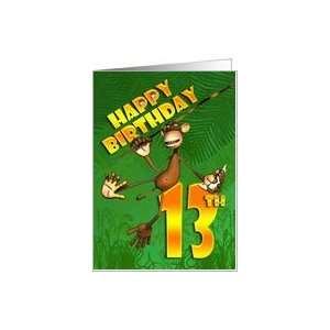 Happy 13th Birthday Monkey Banana Card Toys & Games