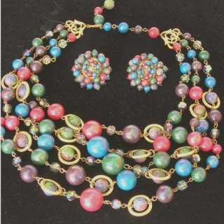 Vintage Multi Strand Iridescent Bead Necklace & Earrings