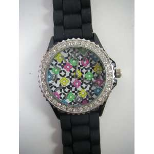 Ladies Dress Watch with Black Silicone Band and Pop Art