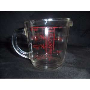 Vintage 1940s Glass Pyrex Measuring Cup 1 Cup # 508 Closed D Handle