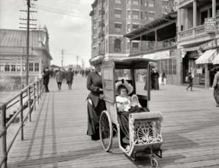 ATLANTIC CITY NEW JERSEY 1905 PHOTO BLACK & WHITE BOARDWALK CART PRE