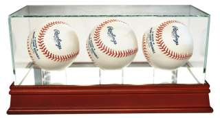 Autographed Triple Baseball Display Case UV Glass Cherry Wood Base