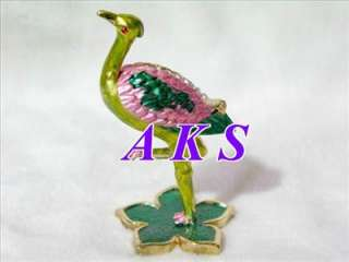 Fancy Ostrich Crystal Enamel Jewelry Trinket Box AA25