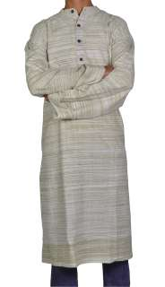 Indian Saffron Khadi Casual Wear Hand Woven Khadi Long Designer Mens