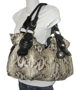 NEW JESSICA SIMPSON TRIBECA SNAKE PYTHON PRINT SATCHEL BAG EXTRA LARGE