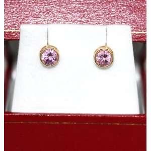 14K Yellow Gold Pink Stud bazel Earrings (4mm) Jewelry