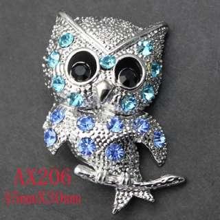 Fancy Blue Rhinestone Crystal Owl Pin Brooch AX206