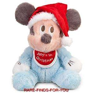Disney Parks Mickey Mouse Babys First Christmas Santa 9 H Plush