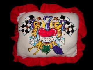 HAND MADE ROCKABILLY HOT ROD PILLOW TATTOO LUCKY 7 ART