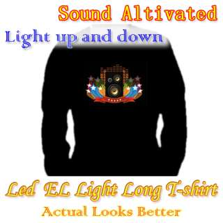 Music Sound Activated Up and Down LED Light EL Long Sleeve T Shirt