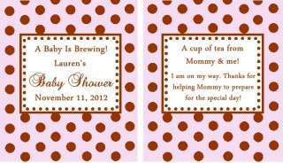 Personalized Polka Dot Baby Shower Tea Bag Favors Set of 12
