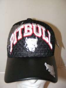 PIT BULL PITBULL BLACK LEATHER BILL AIR MESH HAT CAP