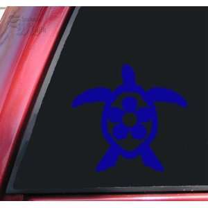 Flower Honu Hawaiian Sea Turtle Vinyl Decal Sticker   Blue