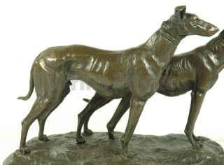 TWO HUNTING DOG GREYHOUND BRONZE STATUE ~E. FREMIET~