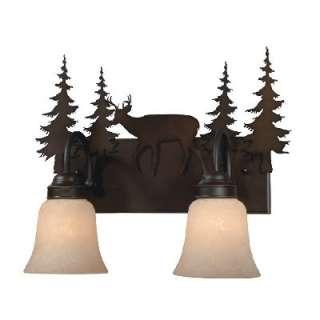 NEW 2 Light Rustic Deer Bathroom Vanity Lighting Fixture Burnished