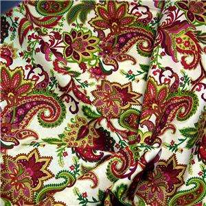 Henry Glass Cotton Fabric Paisley Rose Pink, Green, Gold, Cream, Per