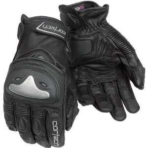 Mens Leather Street Bike Racing Motorcycle Gloves   Black / 2X Large