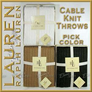 Ralph Lauren Cable Knit Gift BOX Throw Pick Color