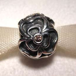 AUTHENTIC PANDORA Silver with Brown Cubic Zirconia POSY Charm