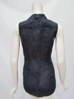 Theory womens true navy milly buttoned up sleeveless blouse top S $170