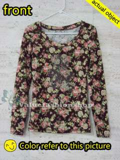 Vintage Floral Print Long Sleeve Cotton Beaded Tops Blouse T shirt