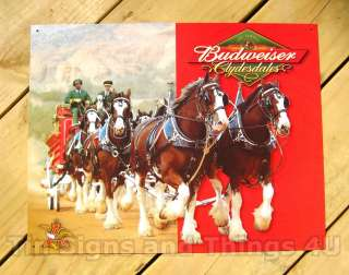 BUDWEISER CLYDESDALES HORSES TIN SIGN BAR beer 1281