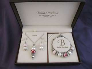 Bella Perlina PINK RED Bead Rhinestone Charm Bracelet Necklace Earring