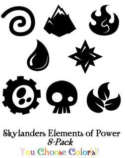 Skylanders Spyro Elements of Power 8 Pack Sticker/Decal Set Boys Room