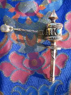 ROTATING BRASS OM MANTRA PRAYER WHEEL TIBETAN BUDDHIST NEPAL