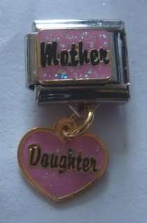 Italian Charm MOTHER & DAUGHTER Pink Heart Dangle 9mm fits Nomination