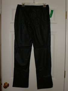 Benetton Black Pleather Faux Leather Pants NWT 46 10