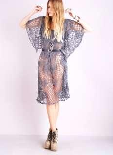 CROCHET Lace Sheer Cutout ANGEL SLV Hippie Mini FESTIVAL DRESS