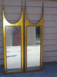 PAIR GILDED GOLD REGENCY MODERN MIRRORS HOLLYWOOD GLAM